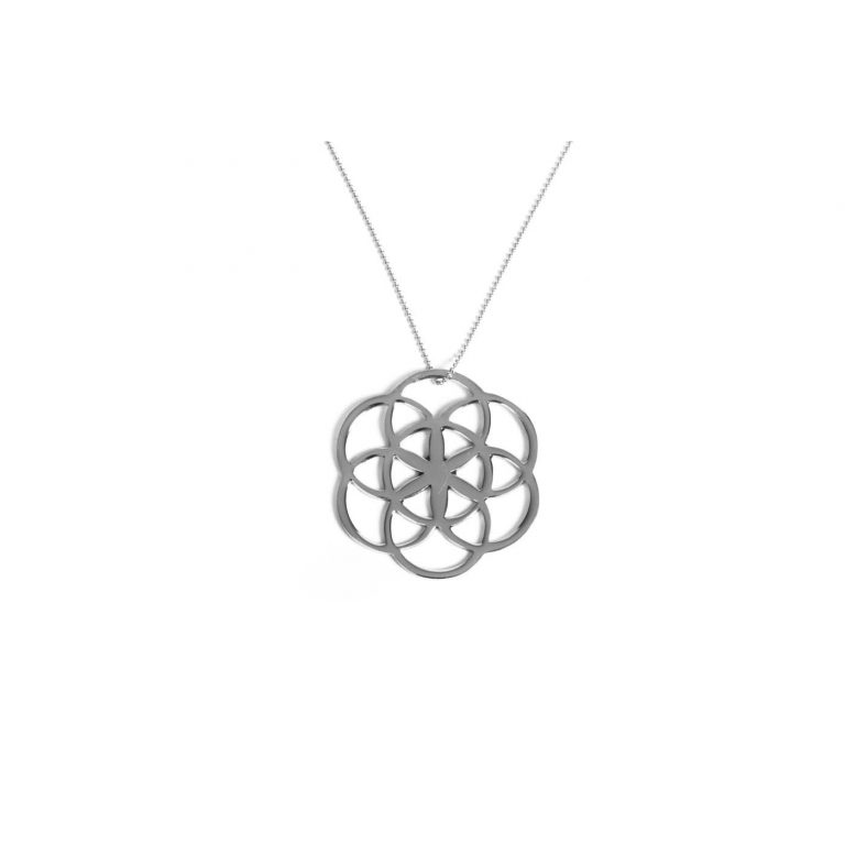 Flower of life collier in pouch small size - shiny silver