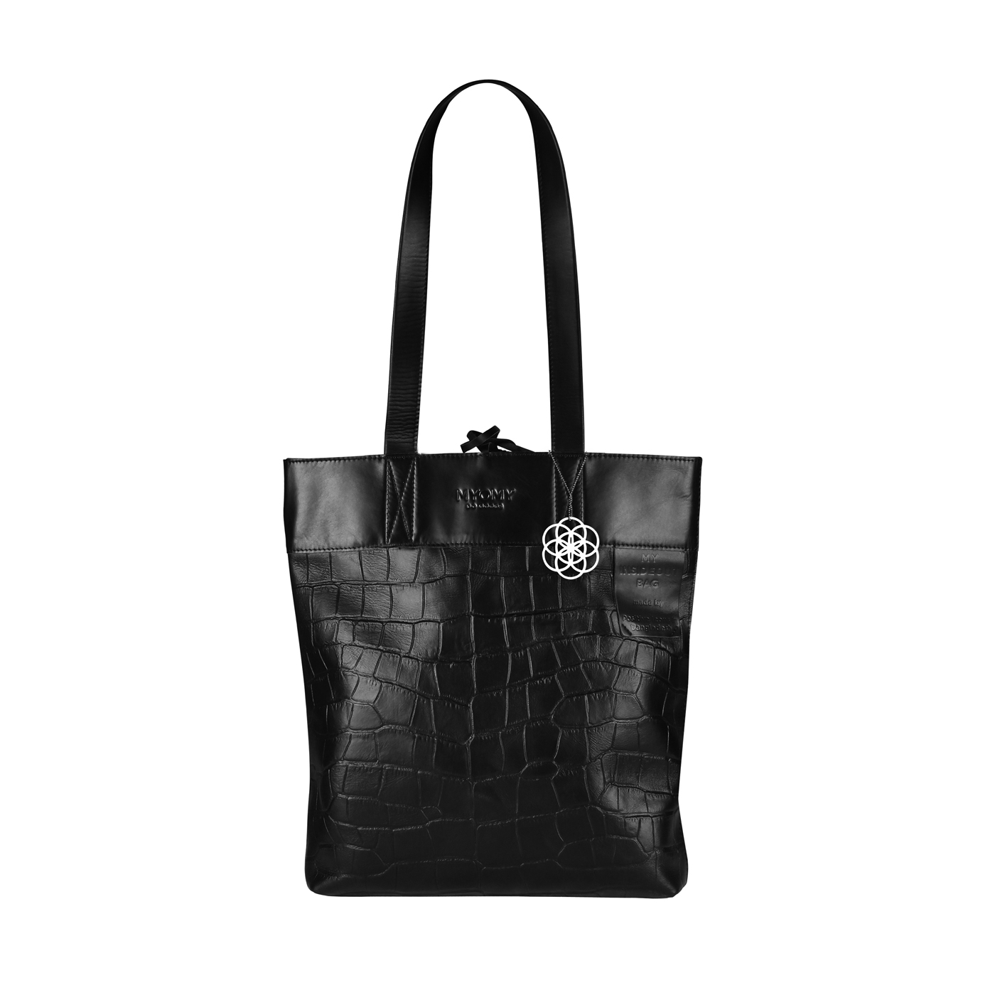 MY INSIDEOUT BAG Long handle - Mix hunter waxy & croco black