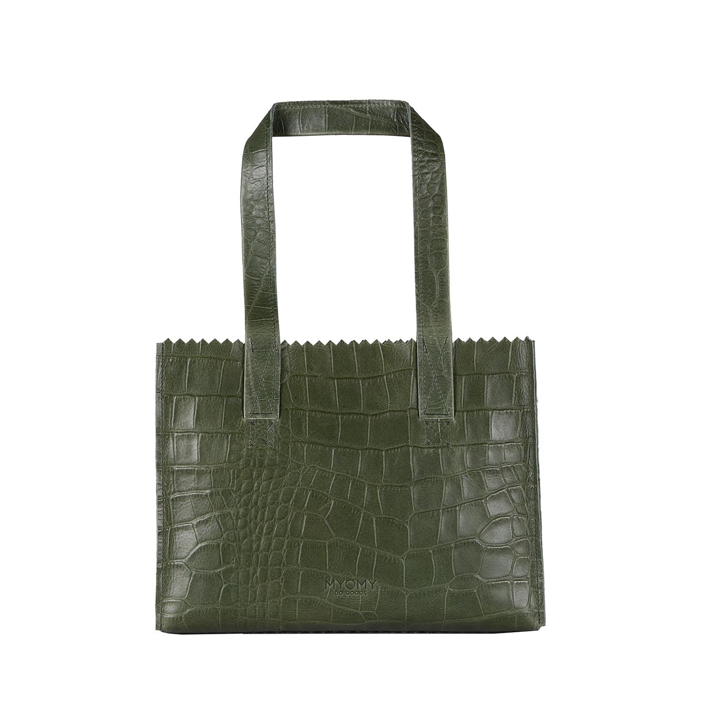 MY PAPER BAG Handbag - croco vetiver green