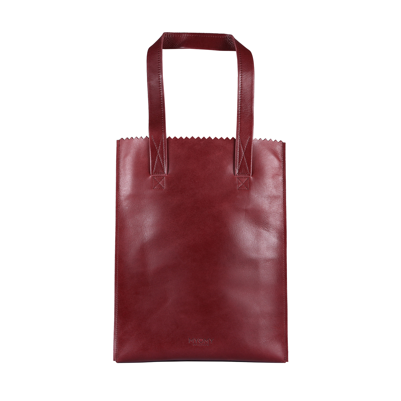 MY PAPER BAG Long handle zip- hunter waxy burgundy