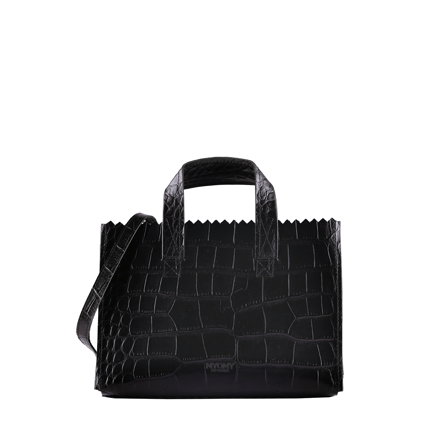 MY PAPER BAG Mini handbag cross-body  - croco black