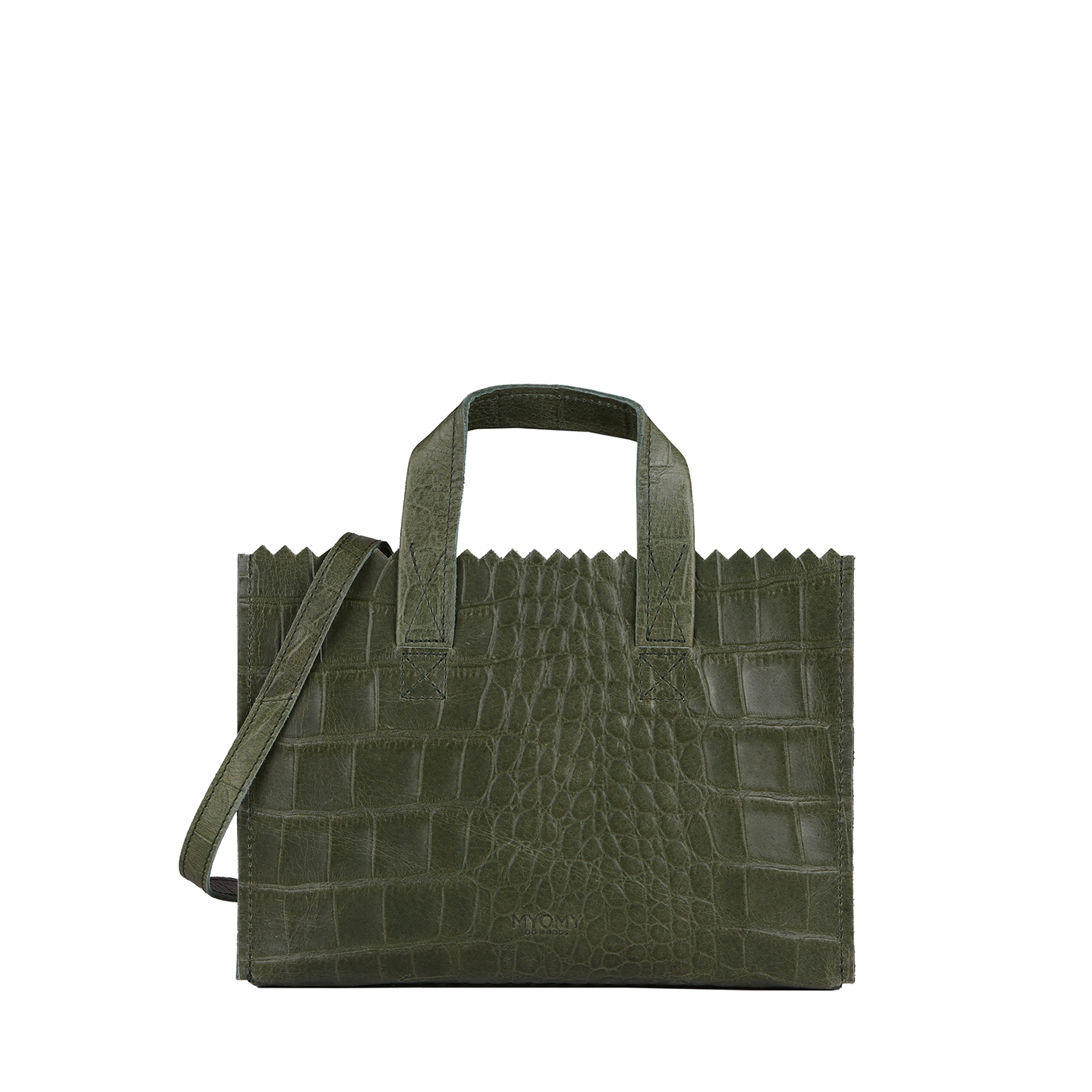 MY PAPER BAG Mini handbag cross-body  - croco vetiver green