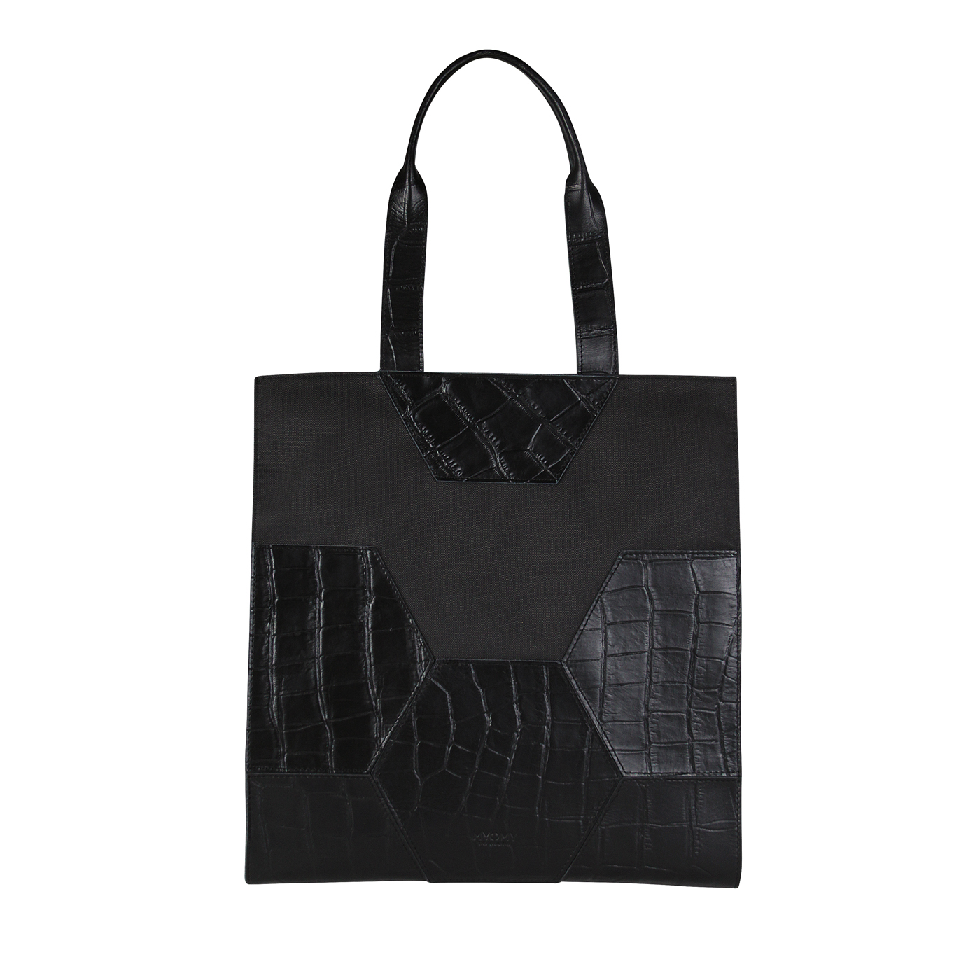 MY TREASURE BAG Long Handle – croco black & recycled plastic