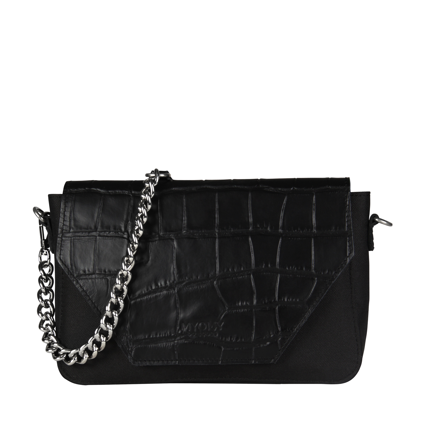 MY TREASURE BAG Mini – croco black & recycled plastic
