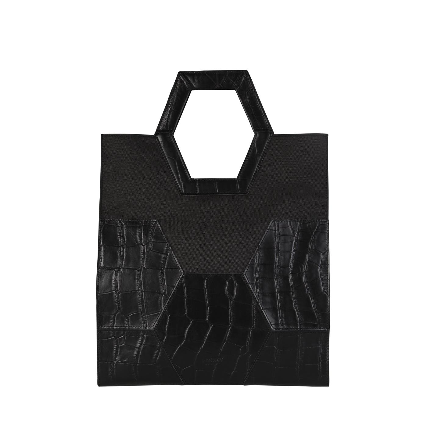 MY TREASURE BAG Shopper - croco black & recycled plastic