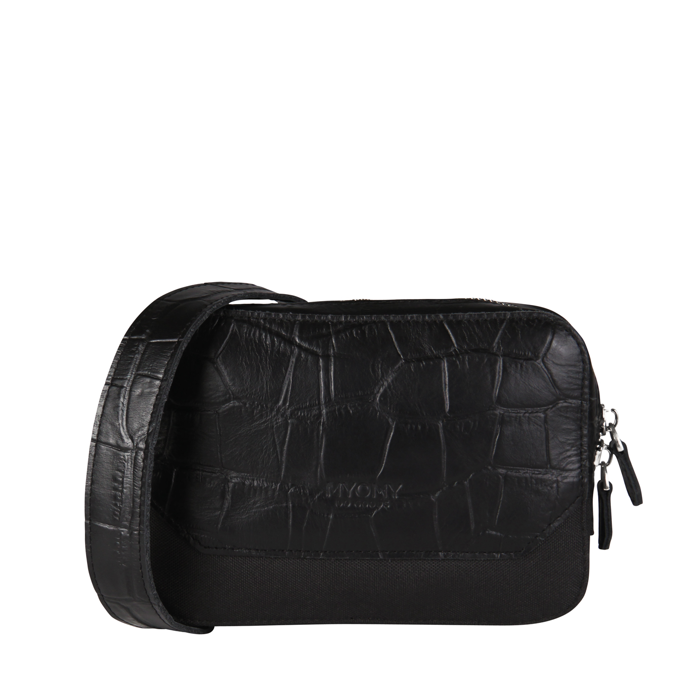 MY TREASURE BAG Beltbag – croco black & recycled plastic