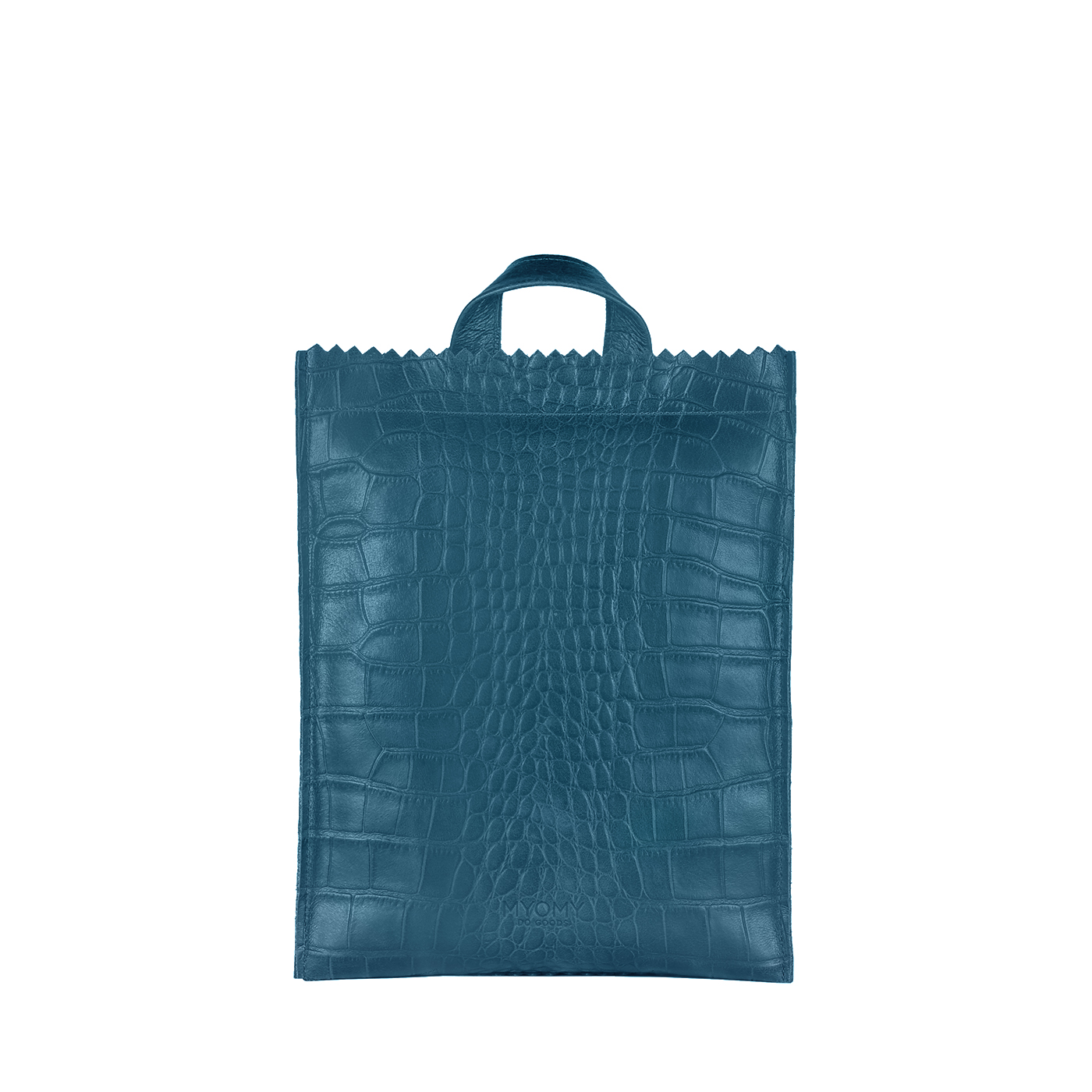 MY PAPER BAG Backbag medium - croco denim blue