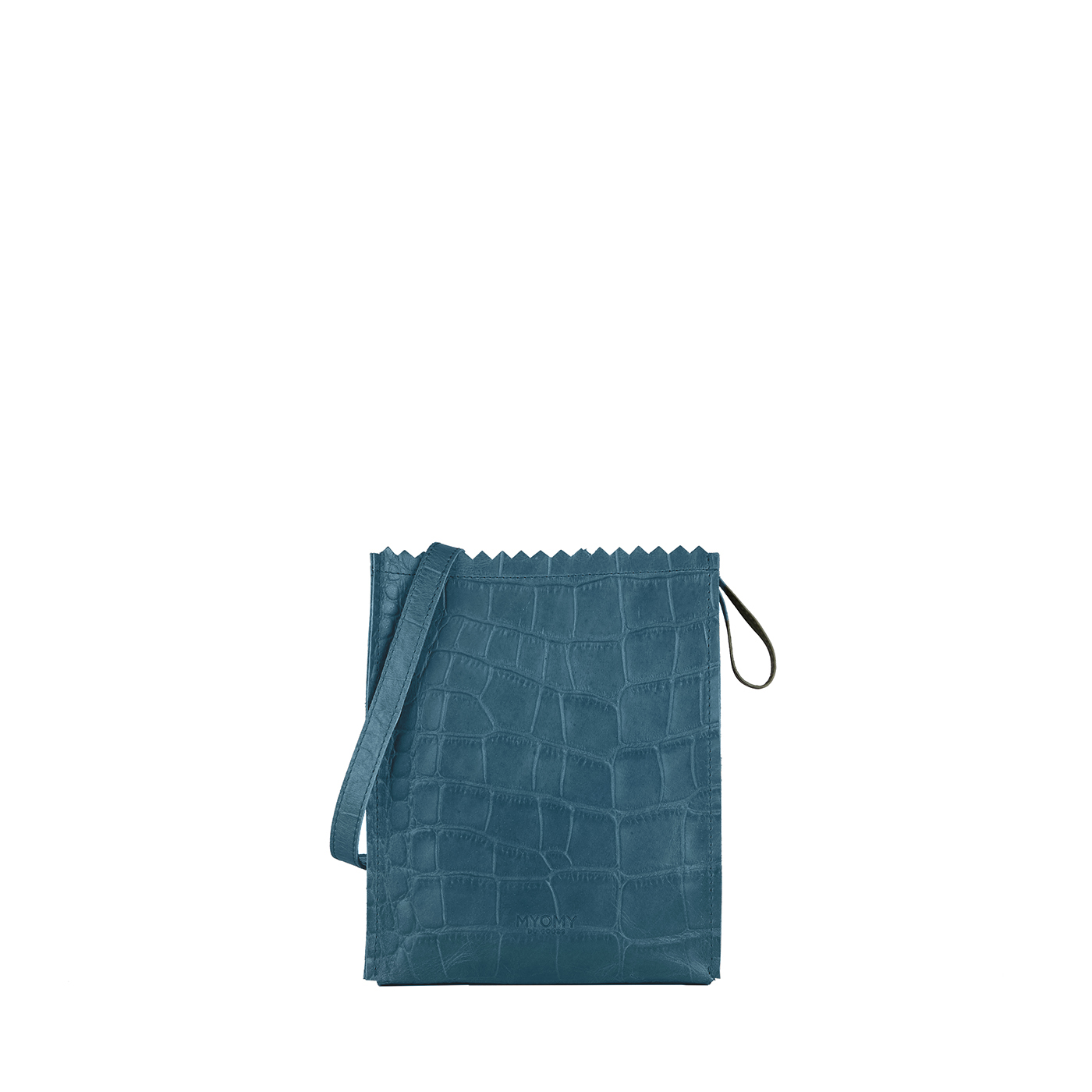 MY PAPER BAG Baggy medium – croco denim blue