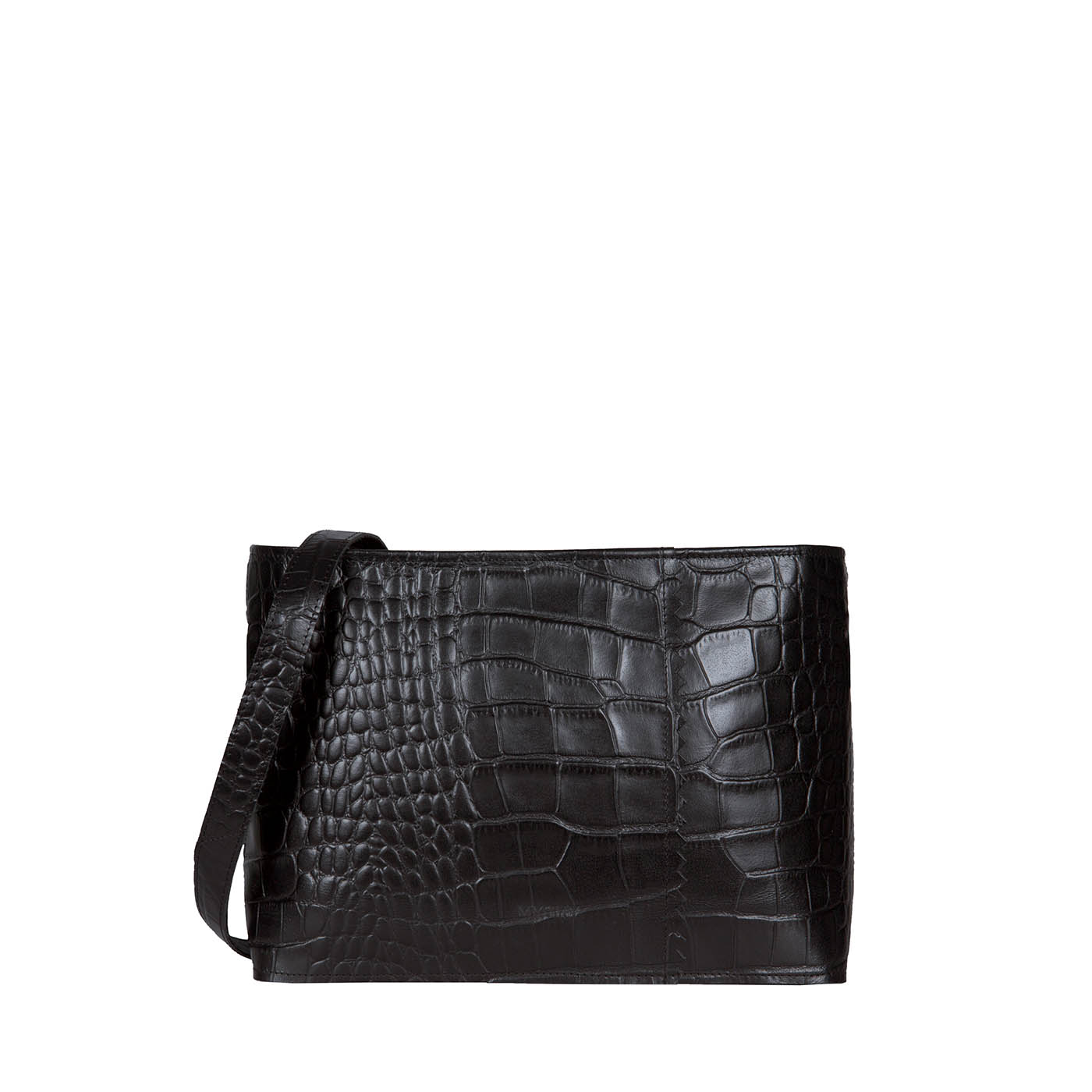 MY PAPER BAG Wrapped cross-body – croco black