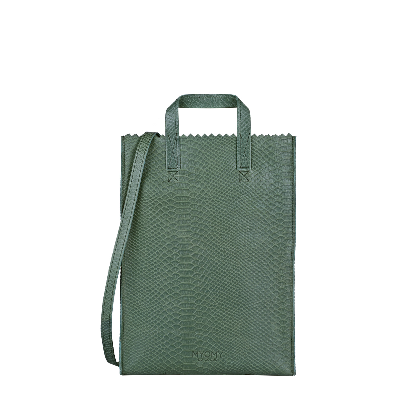 MY PAPER BAG Handy short handle – anaconda sea green